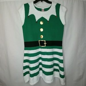 Holiday Time Elf Ugly Christmas Sweater Dress
